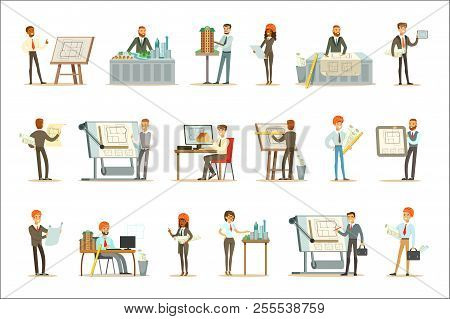 Architect Profession Set Of Vector Illustrations With Architects Designing Projects And Blueprints F