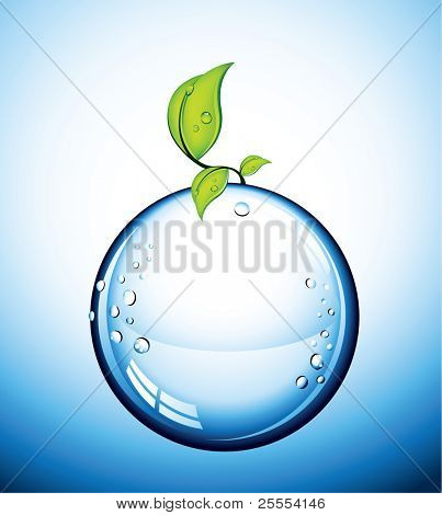 An illustration of a blue glass ball with drops of water and wet leaves