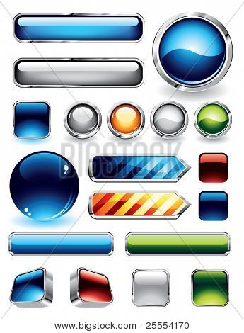 Large collections of glossy and metallic buttons for websites. To see more glossy elements, please visit my portfolio.