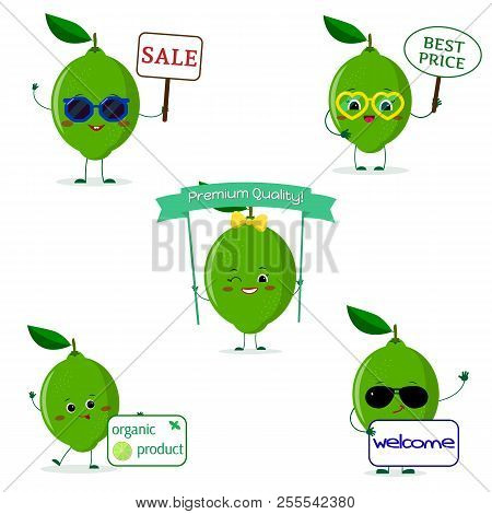 A Set Of Five Lime Character In Cartoon Style. With Different Plates And Glasses. Flat, Vector.