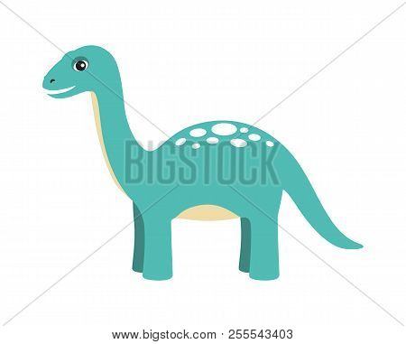 Apatosaurus Dinosaur Type, Reptile With Long Neck And Tail, Friendly Cartoon Animal And Calm Image V