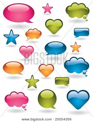 Shiny bubbles, stars and heart shapes in many colors