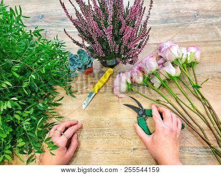 The Work Of The Florist Is The Compilation Of A Bouquet. Flower Shop
