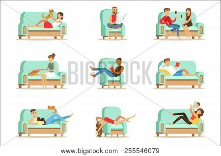 People Resting At Home Relaxing On Sofa Or Armchair Having Lazy Free Time And Rest Seris Of Illustra