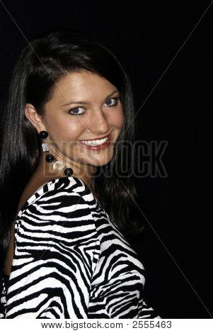 Beautiful Brunette  Looking Over Shoulder