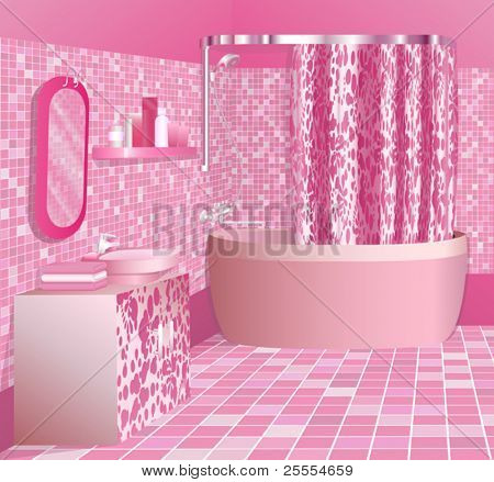 Girl's luxury pink bathroom interior, no gradient mesh, only simple gradients used.