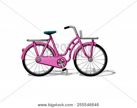 Urban Family Bike Flat Vector. Urban Bicycle, Leasure And Sport Transport For Family. Bicycle Illust