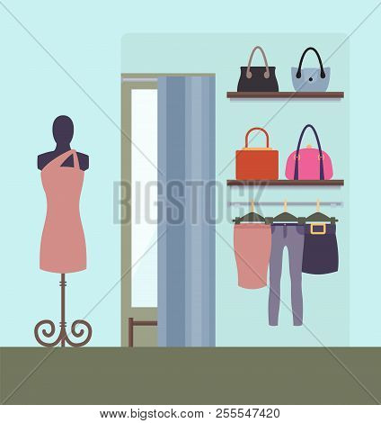 Female Clothing Shop Design Vector Illustration Pretty Dress On Stand, Shelves With Various Bags Pan
