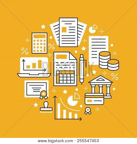 Financial Accounting Circle Poster Flat Line Icons. Bookkeeping Brochure Concept, Tax Optimization,