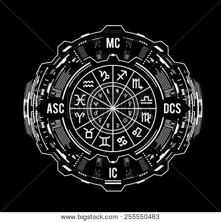 Astrology Background. Natal Chart, Zodiac Signs, Houses And Significators. Hud Interface Futuristic