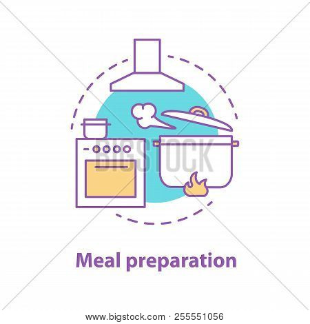 Food Preparation Concept Icon. Kitchen. Cooking Dinner. Cooker, Exhaust Hood, Boiling Stewpan. Vecto