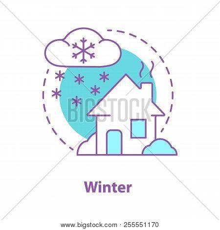 Winter Season Concept Icon. Snowy Weather Idea Thin Line Illustration. House In Snow. Snowstorm. Vec