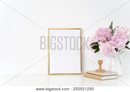Gold Portrait A4 Poster Mock Up With A Pink Peonies In White Jug, Stamp. Overlay Your Quote, Promoti
