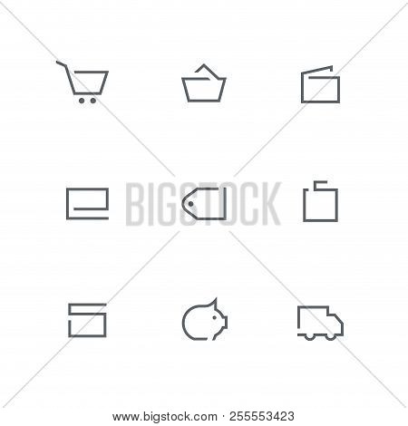Open Outline Icon Set - Shopping Cart, Basket, Wallet, Credit Card, Price Tag, Bag, Gift, Coin Box A