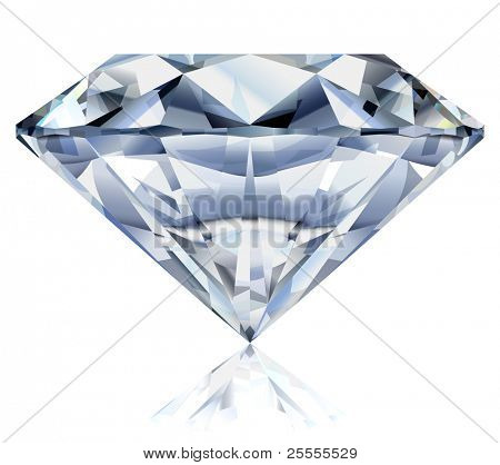 Vector illustration of a realistic diamond. No gradient mesh.