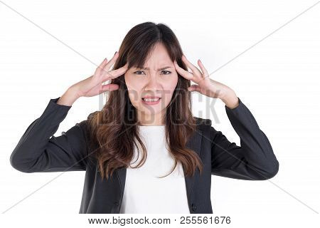 Businesswoman Was Headache. Isolated On White Background.