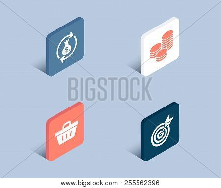 Set Of Tips, Shopping Basket And Money Exchange Icons. Target Sign. Cash Coins, Sale Offer, Cash In