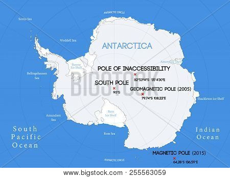 Schematic Vector Map. Location Of The South Poles.