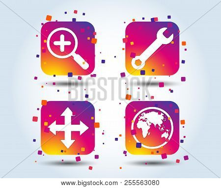 Magnifier Glass And Globe Search Icons. Fullscreen Arrows And Wrench Key Repair Sign Symbols. Colour