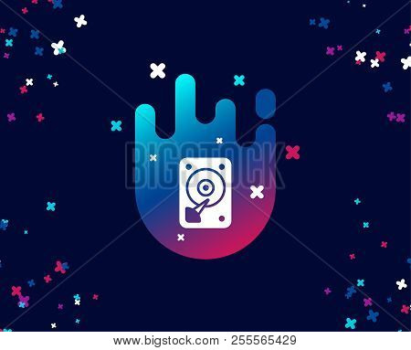 Hdd Icon. Hard Disk Storage Sign. Hard Drive Memory Symbol. Cool Banner With Icon. Abstract Shape Wi