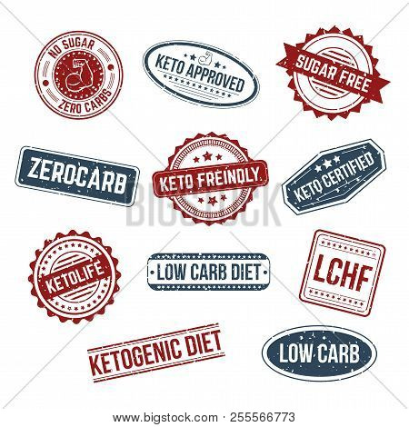 Big Set Of Keto Stamps And Labels Isolated White Craft Background With Grunge Effect. Lchf, Low Carb
