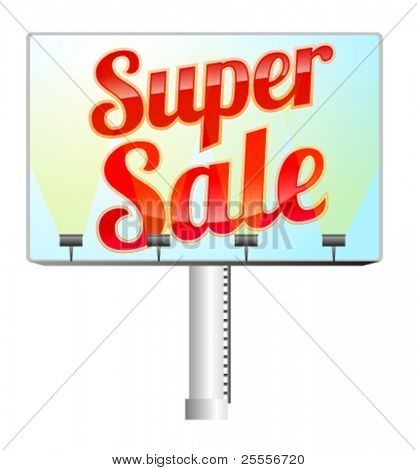 Billboard with red illuminated super sale sign
