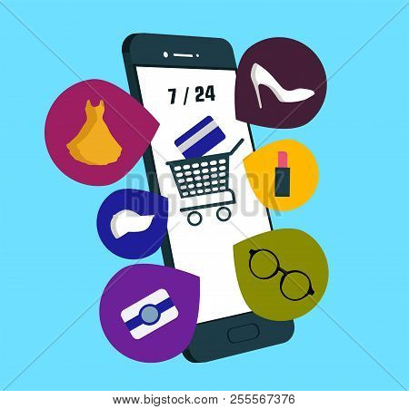 Online Shopping Concept With Mobile. E-commerce Concept Minimal Design. Shopping Online Mobile Phone