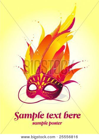 Party mask vector poster template
