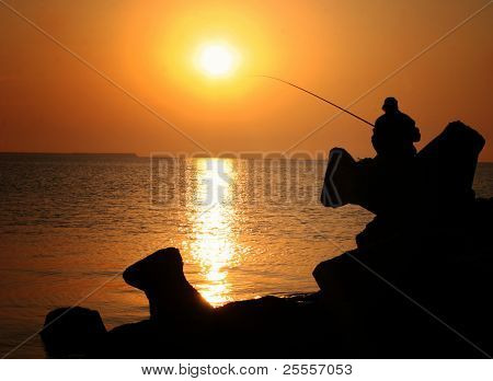 Patient Fisherman with the Rod