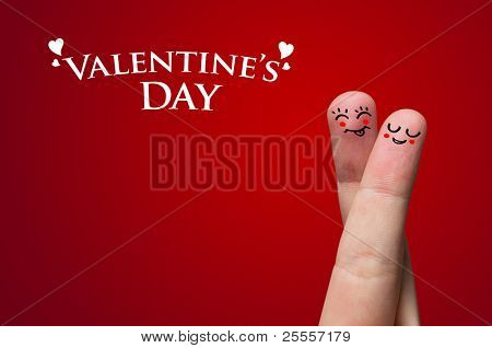 Lackierte Finger Smiley, Valentinstag Thema