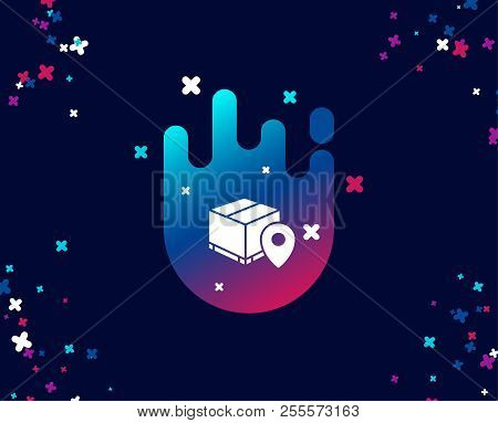 Parcel Tracking Simple Icon. Delivery Monitoring Sign. Shipping Box Location Symbol. Cool Banner Wit