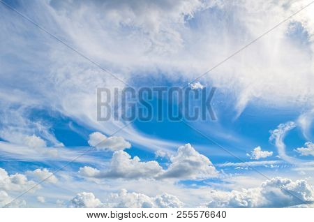 Blue Sky Background With White Dramatic Clouds And Sunlight. Sky Landscape Scene, Blue Sky Backgroun
