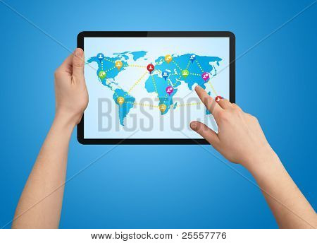 A male hand holding a modern touchpad with social map