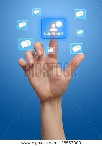 hand pressing COMMENT button, blue background