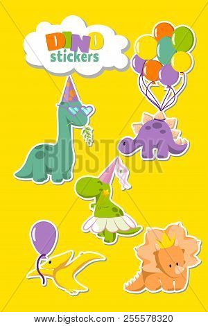 Set Of Funny Dinosaurs Stickers For Party Invitation Card, Greeting Card Designing. Stegosaurus With