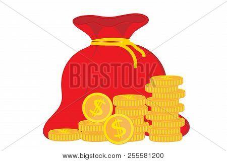 Profit Money . Concept Of Business Success, Economic Or Market Growth. Money Bag, Income, Stock. Ico