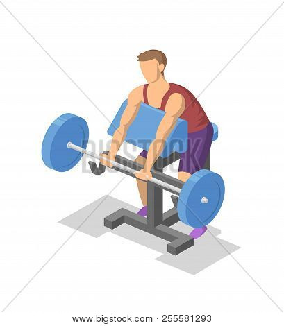 Man Working Out With Barbell On Preacher Bench In The Gym. Colorful Isometric Illlustration Of Fitne