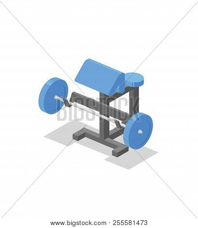 Preacher Bench, Training Apparatus For The Gym. Fitness Equipment Isometric Illustration. Colorful F