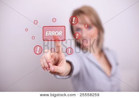 Woman pressing error button with one hand