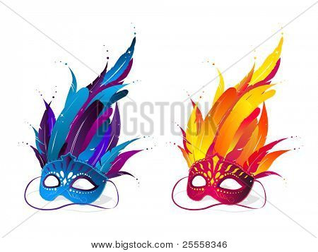Colorful party masks in blue and red color
