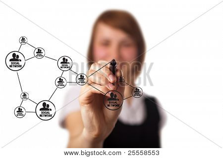 businessman drawing a social network scheme on a whiteboard (on bokeh)