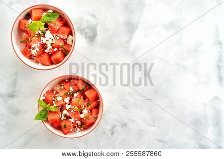 Watermelon Salad Into Two Cups With Feta Cheese