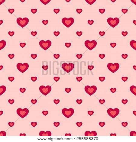 Valentines Day Vector Seamless Pattern With Hearts. Abstract Geometric Texture In Pink And Red Color