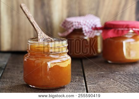 Homemade Salted Vanilla Cantaloupe Jam. Extreme Shallow Depth Of Field With Selective Focus On Jar I