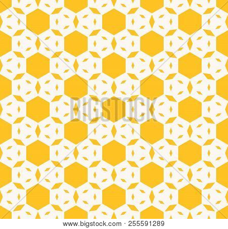 Yellow Geometric Seamless Pattern. Vector Abstract Texture With Hexagons, Small Rhombuses, Floral Fi