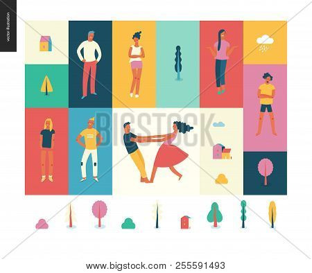 Bright People Portraits Pattern -young Men And Women - Set Of Various Posing People In Fashion Color