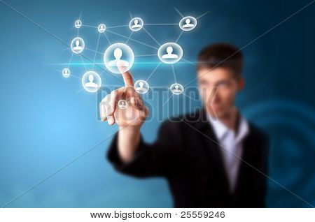 Ein Geschäftsmann arbeiten auf modernster Technologie, Tiefenschärfe