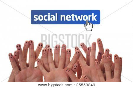 Happy group of finger faces as social network