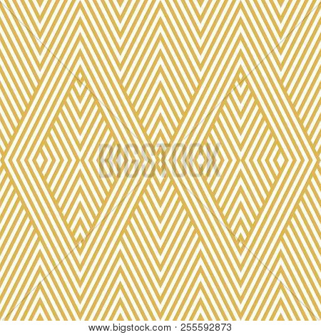 Vector Geometric Lines Pattern. Golden Seamless Texture With Stripes, Diagonal Lines, Rhombuses. Abs