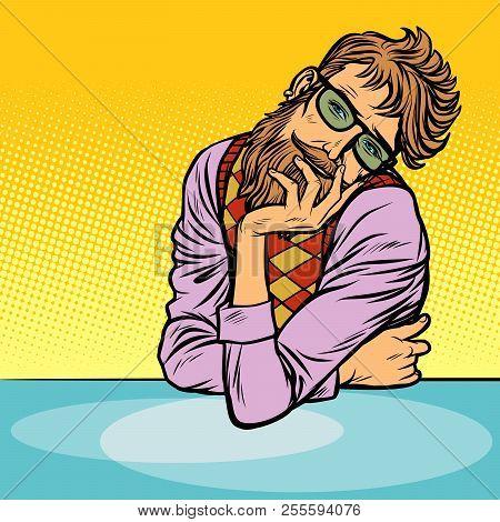 Funny Romantic Thinker Man Hipster. Pop Art Retro Vector Illustration Vintage Kitsch